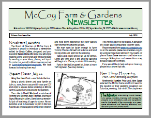 McCoy Farm and Gardens July 2016 Newsletter